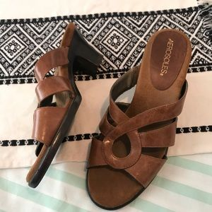 Aerosoles Turtle Dove Brown Leather Sandal Size 7